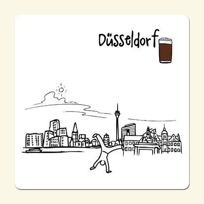 die stadtmeister Untersetzer Skyline Düsseldorf (weiß) - als Geschenk für Düsseldorfer und Fans der Metropole am Rhein oder als Düsseldorf Souvenir