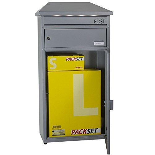 SafePost 95 LED Paketbriefkasten silber-grau mit gesichertem Paketfach Standbriefkasten Briefkasten - 2