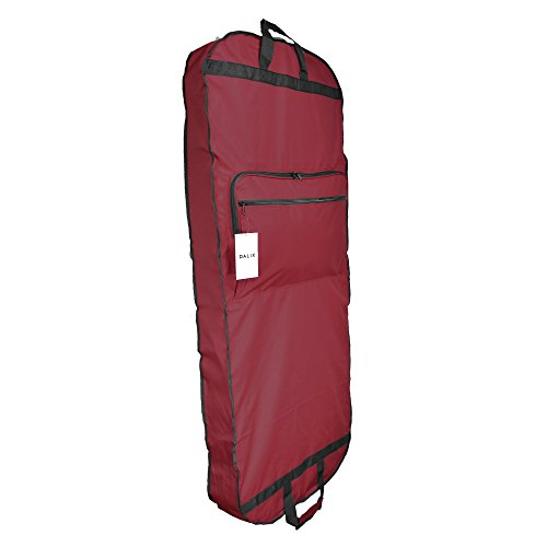 """DALIX 60"""" Professional Garment Bag Cover for Suits Pants & Gowns Dresses (Foldable) (Maroon)"""