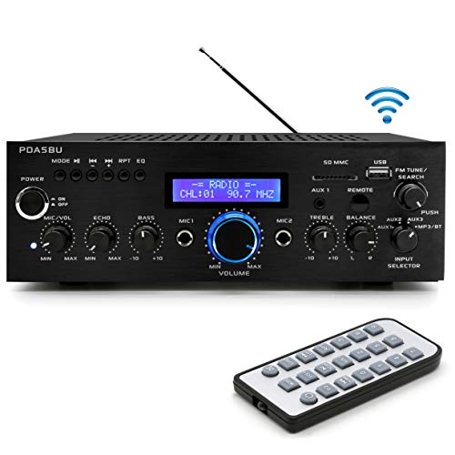 Pyle 200W Audio Stereo Receiver-Wireless Bluetooth Power Amplifier Home Entertainment System w/AUX in, USB Port, DVD CD Player, 2 Karaoke Microphone Input, Remote-PDA5BU.0 (PDA5BU.0)