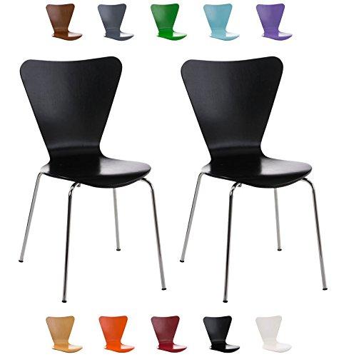 CLP 2X Konferenzstuhl Calisto mit Holzsitz und stabilem Metallgestell I 2X platzsparender Stuhl mit Einer Sitzhöhe von: 45 cm Schwarz