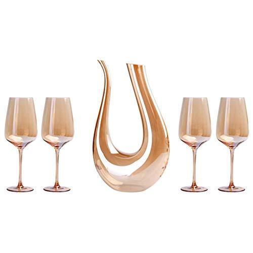 Tcbz Decantador de aireador de Vino, Juego de Copas de Vino Doradas Que Incluye un decantador de 1,5 l y 4 Copas de Vino, Juego de oxigenación de Vino de Cristal 100% sin Plomo, Dorado