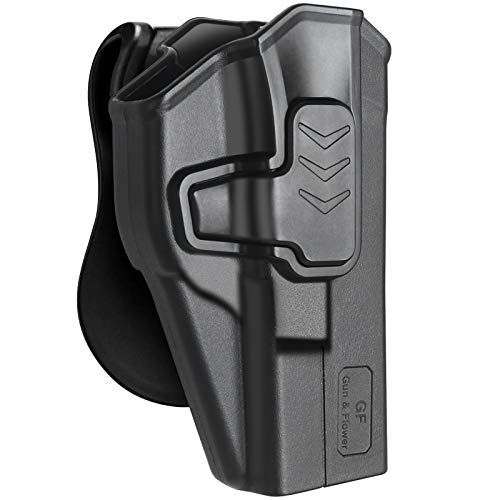 OWB Holster Compatible with Glock 17 Holster 22 31 Gen 1-5 Holster, Index Finger Release, Tactical Durable Polymer Outside The Waistband Paddle Holsters, Right Hand