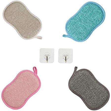 Paquet de 4 Éponges à Vaisselle Lavable,Eponge Lavable Vaisselle Reutilisable, Eponge a Recurer en Microfibre, Tampons Antibactérienne Double Éponge avec 2 Crochets Adhésifs pour Nettoyer Poêles Pots