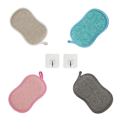 MOULLY Juego de 4 paños de Microfibra de Doble Cara, paños de Cocina, esponjas de Limpieza, paños de Limpieza Reutilizables Paños Multiusos Esponjas