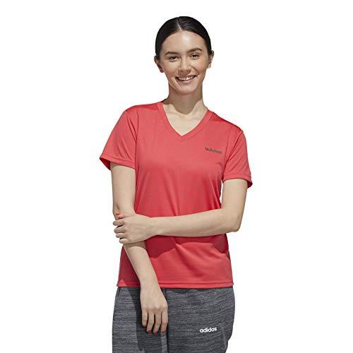 adidas W D2M Solid T, Maglietta Donna, Rosso (Rosbas), Nero, M