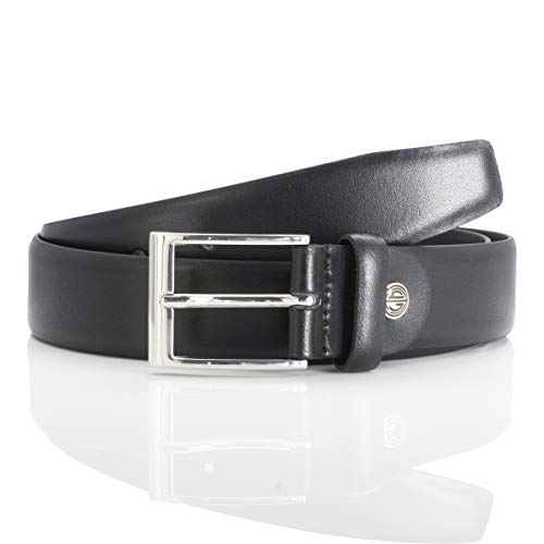 Lindenmann men's leather belt/men's belt, leather belt, black, Größe/Size:85, Farbe/Color:noir