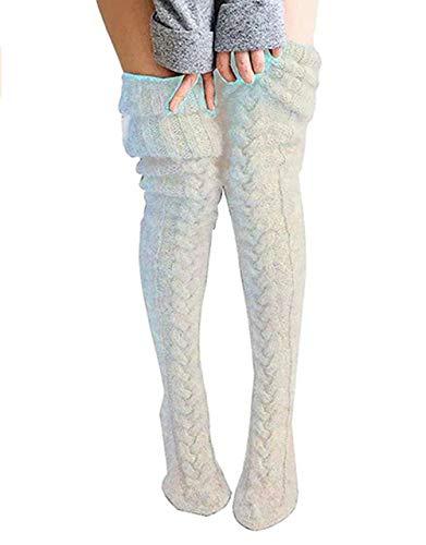 Young Forever 1 Paar Damen Mädchen Kniestrümpfe Overknee Strümpfe Lange Überknie Strick Socken Herbst und Winter (Weiß, Einheitsgröße)
