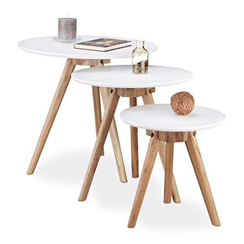 Relaxdays Table d'appoint bois de noyer lot de 3 table basse 50, 40 et 32 cm bout de canapé console plateau blanc design nordique, blanc nature