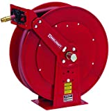 Garden Center Hose Reel for Low Pressure Water - Includes 1 in x 50 ft Hose, 250 psi, Spring Retractable