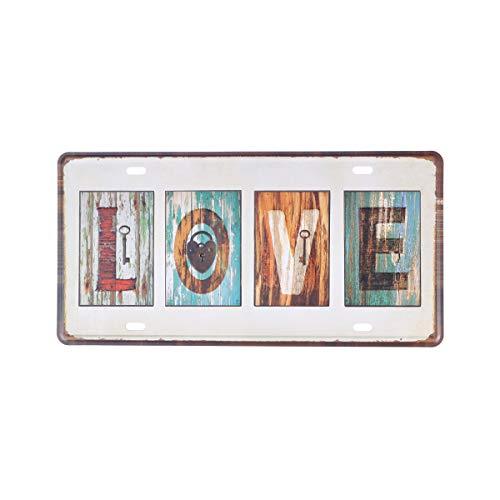VORCOOL Occident Iron Painting Cartel de la Placa del Vintage con la decoración del Arte de la Pared de Las Palabras para la decoración casera de la Barra (Grano de Madera, Amor)