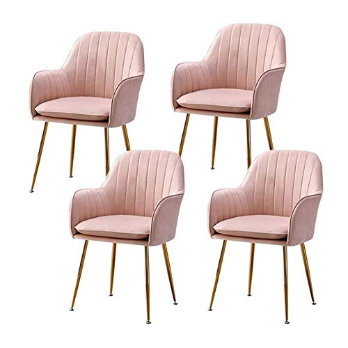 Set of 4 Modern Dining Chairs Comfy Velvet Chairs with Armrest Retro Corner Chairs Golden Metal Legs Kitchen Living Room Receiption Chair (Color : Pink)