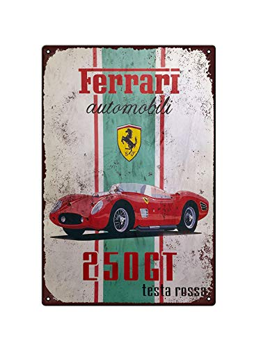 Retro Ferrari – Mini placa de pared de metal – Placas de estaño – Póster de metal – Regalo 200 mm x 300 mm –...