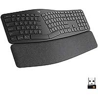 Logitech ERGO K860 Wireless USB & Bluetooth Ergonomic Keyboard with Split Keyboard Layout and Wrist Rest, 2019 model (Black, 920-009166)