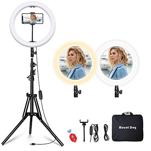 """MountDog Ring Light: 14"""" 3 Color Lights 5600K Dimmable LED Ring Light Kit with Stand, Wireless Remote, Phone Holder and Carrying Bag for Makeup Smartphone YouTube Self-Portrait Shooting"""