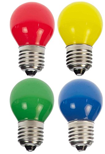 10 x LED Tropfen/Kugel Neu E27 1W bunt gemischt Neu Deko Lampe Birne farbig für Deko Lichterketten 230 Volt