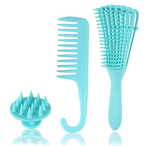 Worglo Hair Brush, Hair Comb and Soft Silicone Scalp Massage Shampoo Brush Set for Women Men Kids Girls Detangling and Styling, Best Paddle HairBrush for Dry Wet Thick Thin Long Short Curly