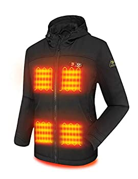 PTAHDUS Women s Heated Jacket Soft Shell with Hand Warmer with 7.4V Battery Pack Large  Black