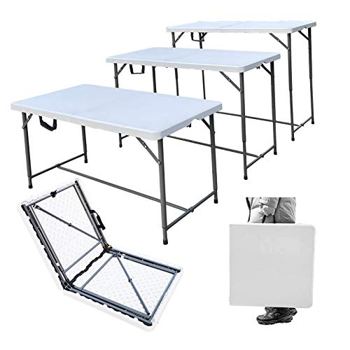 MQ Houseware 4ft Folding Table 3 Adjustable Heights Indoor & Outdoor for Camping Picnic Garden Kitchen Catering Party Market Event Buffet Dining BBQ