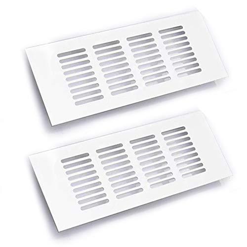 2 stycken vita ventilskydd, 30 x 8 cm/11,8 x 3,15 tum, inre ventilsskydd av aluminiumlegering, ventilationsskydd, för ventilation av inbyggda kylskåp
