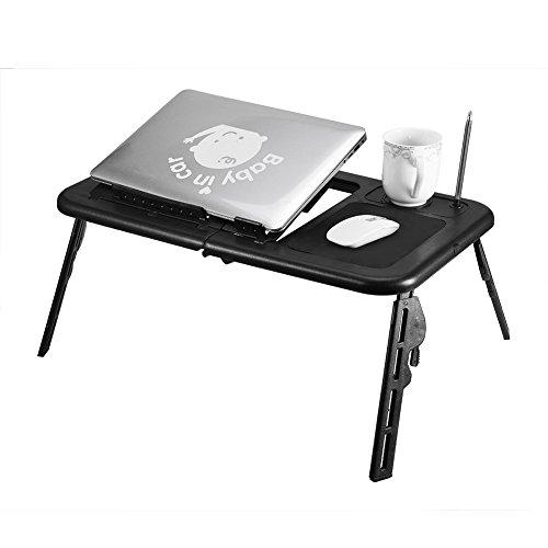 ROSEBEAR Escritorio Plegable para Computadora Portátil, Escritorio para Regazo de Cama, Mesa para Computadora Portátil de Pie con 2 Ventiladores de Enfriamiento para Viajes en Casa, Ajustable