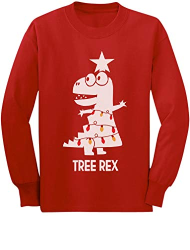 Tree Rex Cute Funny T-Rex Dinosaur Christmas Toddler Kids Long Sleeve T-Shirt 4T Red