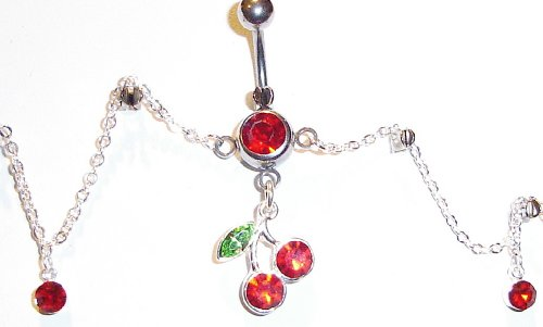 Body Accentz Belly Button Ring Cherry Navel Body Jewelry Dangle Waist Chain 14 Gauge