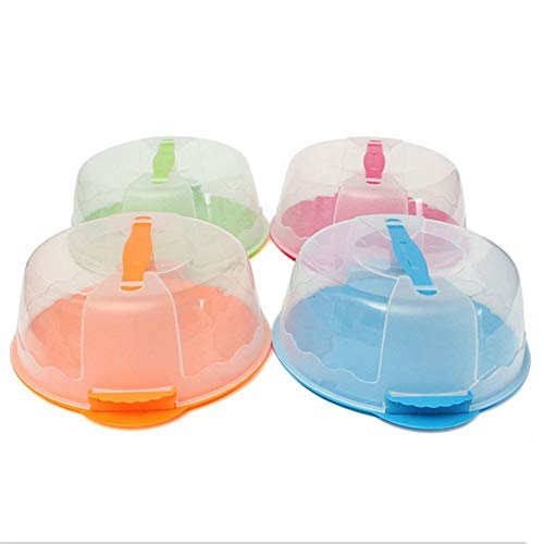 Yosoo Kuchenbehälter, 10 Inch Tragbare Runde Tortenschachtel Kuchen Lagerung Kuchenbox aus Kunststoff mit Haube GIFF (2 Stück, Zufällige Farbe)