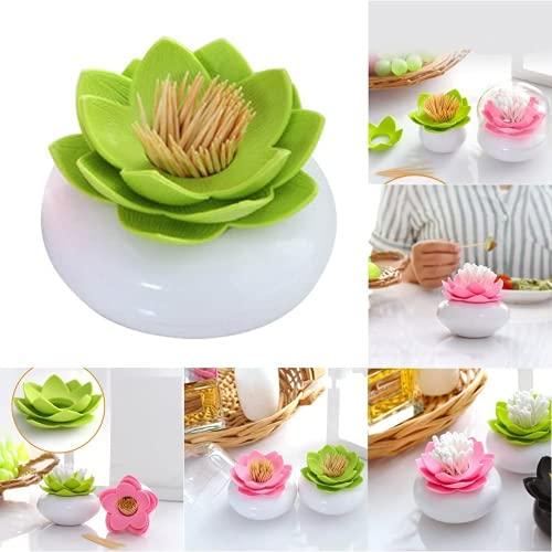 Uqfasb 2 Piezas de Soporte de la Caja de algodón de la Flor de Loto, el pequeño Almacenamiento de Palillos de Dientes, Caja de decoración de tocador de baño (Rosa Verde)