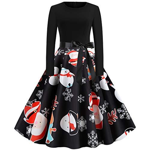 Luckycat Damen Weihnachtenkleid Damen Kostüm Bedrucktes Cocktailkleid Langarm Party Abendkleid...