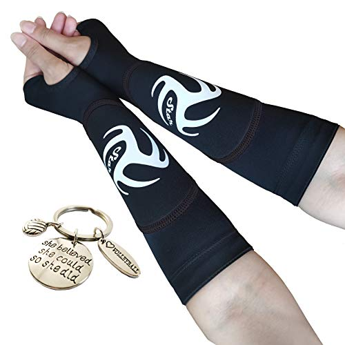 Volleyball Padded Sleeves for Younger Girls and Boys - Passing Forearm Sleeves with Protection Pad (Black Padded Sleeves with Thumbhole, 10)