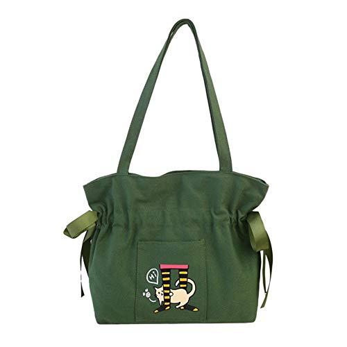 VFJLR Bolsa de Compras 2020 Mujer Bolso de Compras señoras Lienzo Gato impresión Bolsas de Compras Bolsas Bolsas de Playa niñas Bolsas Escolares Verde