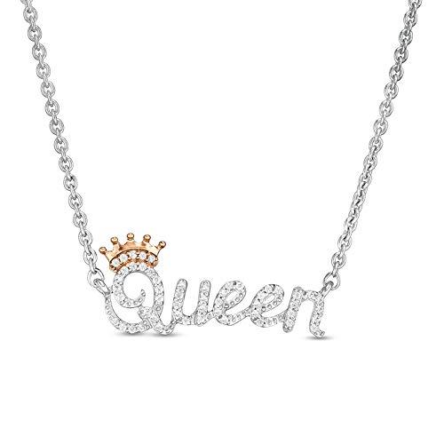 Collar 'Queen' de 3/4 quilates de corte redondo D/VVS1 con diamantes transparentes en plata de ley 925 y chapado en oro rosa de 10 quilates.
