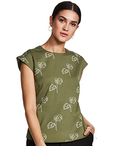Amazon Brand - Symbol Women's Floral Regular fit Shirt (SYMSS20TP008_Olive...