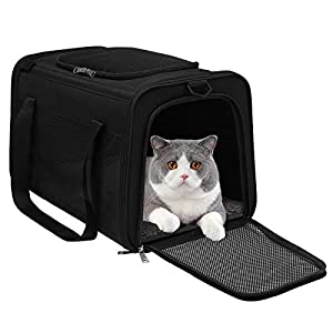 WDM Cat Carrier Dog Carrier, Pet Travel Carrier Airline Approved for Small Dogs Puppies Large Cat, Soft Sided Collapsible Puppy Carrier with Locking Safety Zippers, Removable Fleece Pad and Pockets