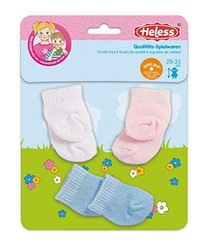 Heless 773 - Söckchen für Puppen, in den Farben weiß, rosa und hellblau, 3 Paar, Größe 28 - 35 cm