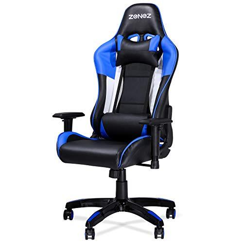 ZENEZ Sedia Gaming, Sedia da Gaming Ergonomica con Supporto per Massaggio Lombare e Cuscino per il Collo, Poltrona Gaming in Pelle PU Regolabile a 180°per Giocatori PC (Blu)