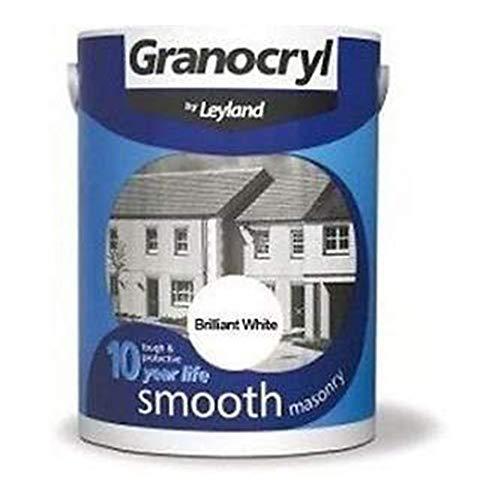 Leyland 303139 Granocryl Smooth Masonry Paint, Brilliant White, 2.5 Litre