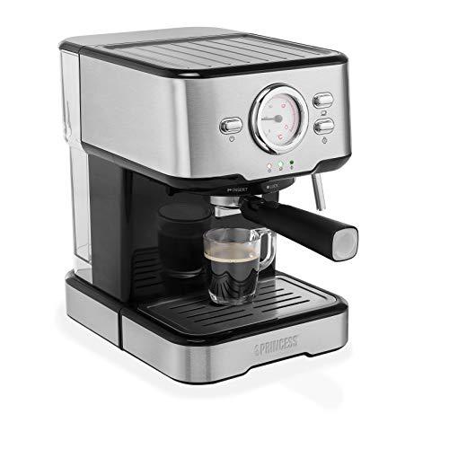Princess 249412 Máquina de café para espresso italiano, Compatible con cápsulas Nespresso, 20 bares de presión, Depósito extraíble de , 1100 w, 1 taza, Negro