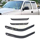 PLDDE 4pcs For 99-06 Chevy Silverado/GMC Sierra 1500/2500/3500 07 Classic Body Extended Cab With Half Size Back Doors Front+Rear Smoke Sun/Rain Guard Outside Mount Tape-On Window Visors