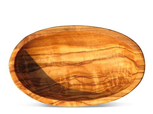 Ovale Schale LIDO - aus Olivenholz, ca. 20 x 13 cm. Mit sehr schöner Maserung, mit vegetabilem Öl eingelassen. Jede Schale ist ein Unikat.