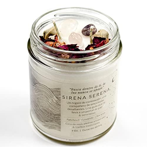 Sirena Nativa- Vela aromática de cera de soya hecha a mano con aceites esenciales, cuarzos naturales y hierbas medicinales. (Sirena...