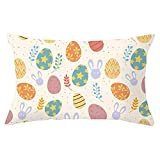 Easter Single-Sided Brushed Peach Skin Square Throw Pillow Cover, 12 x 20 Inch Holiday Cushion Case Decoration for Sofa Couch