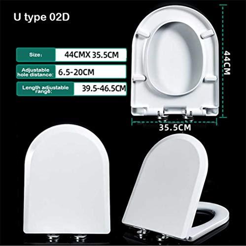 AYES Toilettensitz, PP-PP-Toilettensitz, hochwertiger Toilettensitz, einfache Befestigung oben und unten, verdickter Toilettendeckel, langlebig und verschiedene Größen zur Auswahl (U Typ 02d)