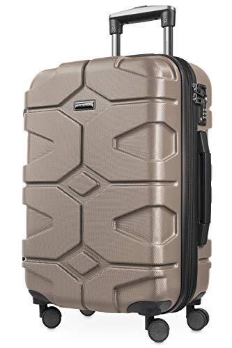 HAUPTSTADTKOFFER - X-Kölln - Handgepäck Trolley, Bordgepäck, Koffer, Volumenerweiterung, TSA, 4 gummierte Doppelrollen, 55 cm, 50 L, Gold matt