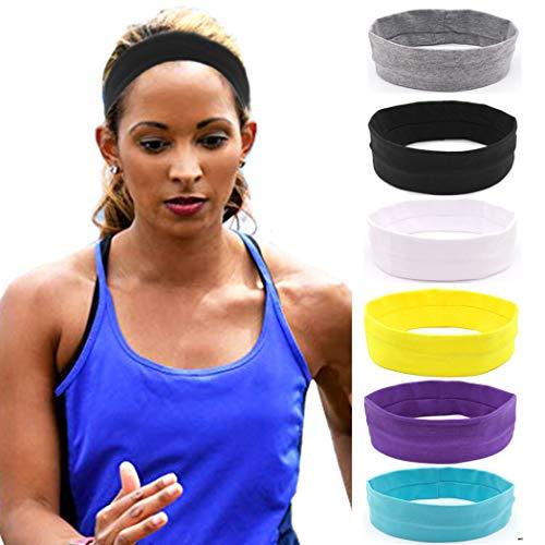 IYOU Fasce sportive Fascia per lo yoga Fasce per capelli elastici per il fitness Fascia in cotone nero per donna e ragazza (confezione da 6)
