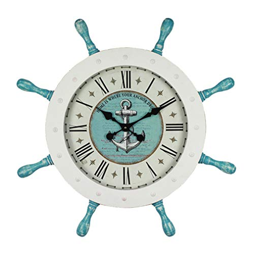 TIM-LI Rustikaler Retro-Massivholz Wanduhr Rudder Modeling, 29-Zoll-Silent-Non-Ticking Batteriebetriebene Bauernhof Uhr, Nach Hause Dekorativen,Blau