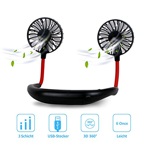 Dericam Mini Ventilator,Halsventilator 360 Grad freie Drehung/3-Gang-Einstellung mit Nackenpolster für Aromatherapie,Schweißfester USB Ventilator für Home-Office-Reisen,Indoor- und Outdoor-Camping