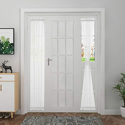 Aquazolax Front Door Window Curtains for Sidelights White Sheer French Door Curtain Panels Striped Window Drapery Patio Glass Door Panels for Entrance Decor, 1 Panel, W30 x L72 Inches