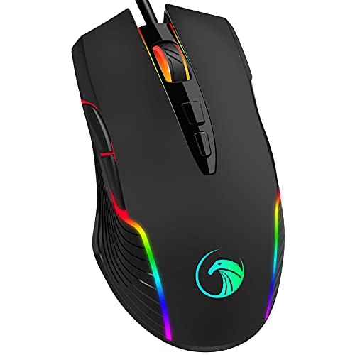 NPET M70 Wired Gaming Mouse, 7200 DPI, 7 Programmable Buttons, RGB Backlit, Ergonomic Optical PC, Comfortable Computer Gaming Mice for Windows 7/8/10/XP Vista Linux, Black